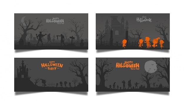 Halloween donkere kaartenset