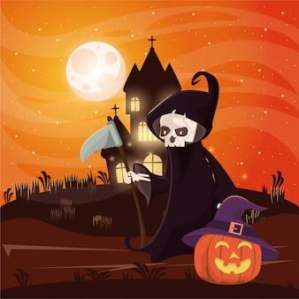 Halloween donkere scène met persoon vermomd van de dood