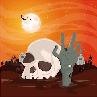 Halloween donkere scène met schedelhoofd