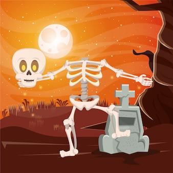Halloween donkere scène met skelet