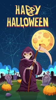 Halloween. dood met een zeis op het kerkhof.