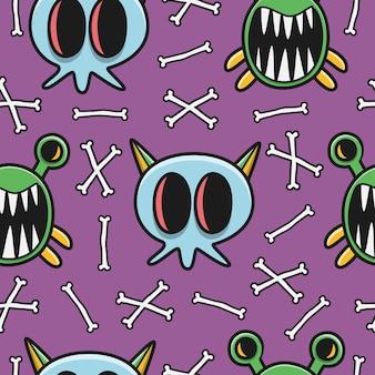 Halloween doodle patroon ontwerp