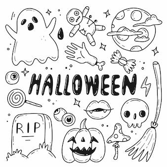Halloween doodle set vectorillustratie met geïsoleerde elementen