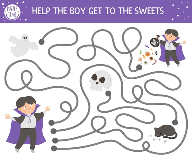 Halloween doolhof voor kinderen. herfst voorschoolse afdrukbare educatieve activiteit. grappige dag van het dode spel of puzzel met kind verkleed als vampier, geest, schedel. help de jongen bij de snoepjes