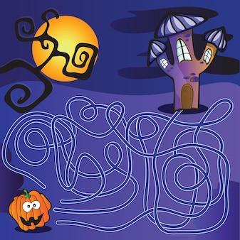 Halloween doolhof voor kinderen met een oplossing