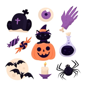 Halloween element collectie handgetekende