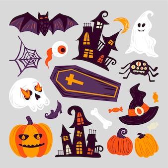 Halloween element collectie met de hand getekend
