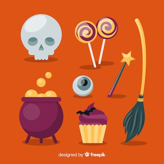 Halloween element collectie plat ontwerp