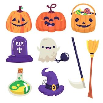 Halloween element collectie tekening