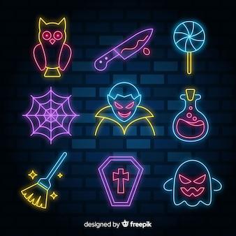 Halloween-element met neon tekeninzameling