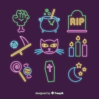 Halloween element neon teken collectie