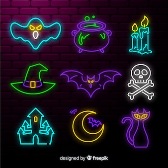 Halloween element neon teken collectie