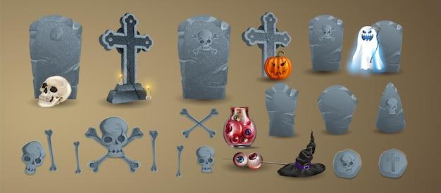 Halloween-elementen en -objecten voor ontwerpprojecten. grafstenen voor halloween. een reeks grafstenen. een verzameling oude graven. oude rip. graf op een witte achtergrond
