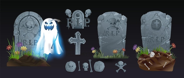 Halloween-elementen en -objecten voor ontwerpprojecten. grafstenen voor halloween. oude rip. graf op een zwarte achtergrond