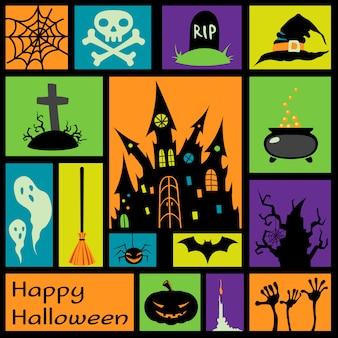 Halloween-elementen in kleurrijke vierkanten