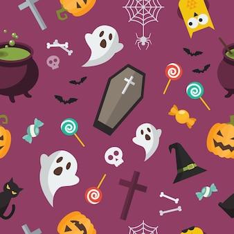 Halloween-elementen naadloos patroon. halloween-achtergrond. vector illustratie