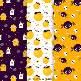 Halloween elementen patroon collectie plat ontwerp