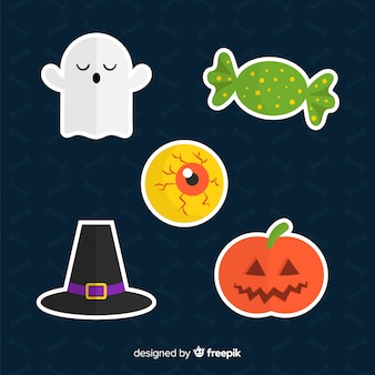 Halloween-elementeninzameling in vlak ontwerp