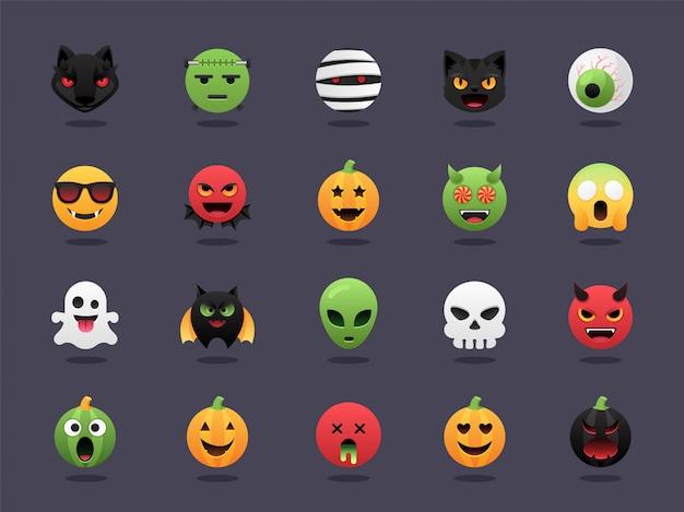 Halloween emoji set