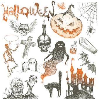 Halloween en handgetekende set