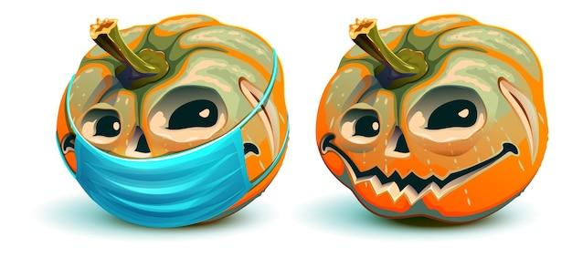 Halloween en het coronavirus. pompoenlantaarn in beschermend medisch masker