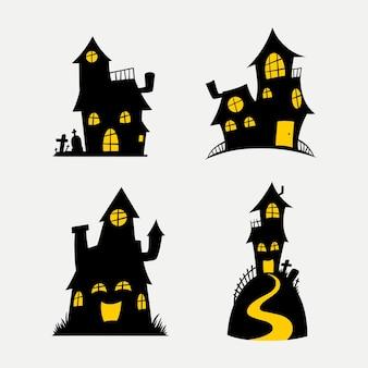 Halloween eng huis silhouet sjabloonontwerp instellen