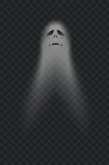 Halloween eng spookachtig monster. poltergeist of fantoomsilhouet dat op transparant wordt geïsoleerd