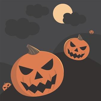 Halloween enge pompoen met kerkhof gejaagd plaats papier kunststijl