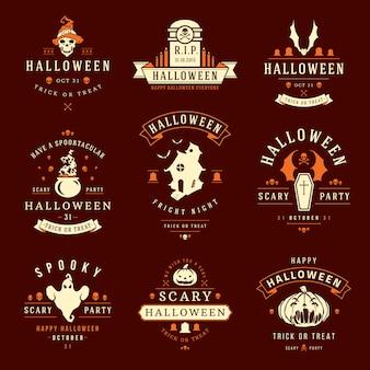 Halloween-etiketten en logo's met griezelige en griezelige symbolen