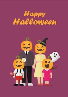Halloween-familie met pompoenkostuums