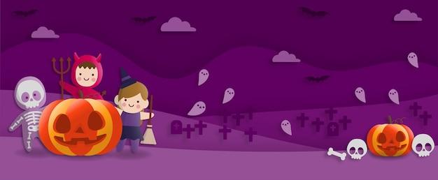 Halloween-feest in papieren kunststijl met kinderen die duivel, geest, heksenkostuum dragen. wenskaart en posters. vector illustratie.