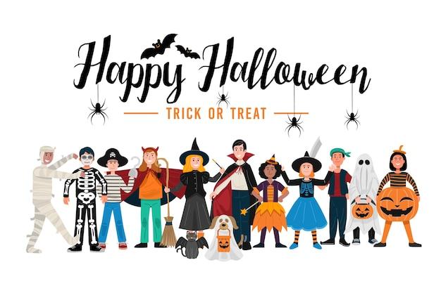 Halloween-feest, kinderen in halloween-kostuums.