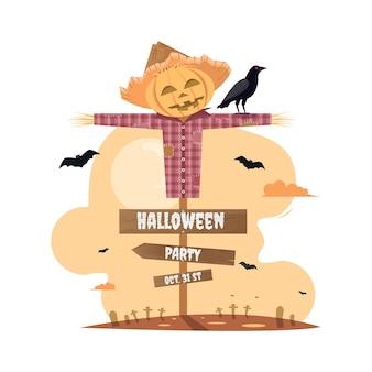 Halloween-feest met vogelverschrikker cartoon.