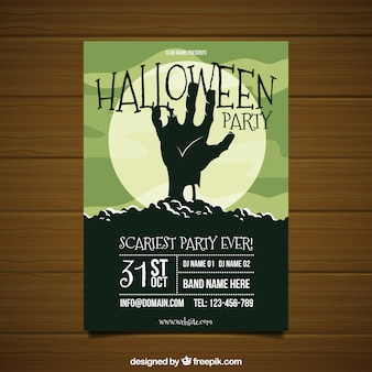 Halloween feest poster met zombie's hand