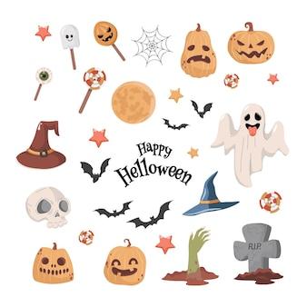Halloween-feest vector platte cartoon afbeelding spook heks hoed vleermuizen Premium Vector