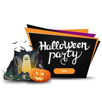 Halloween-feest, zwarte uitnodigingsbanner in de vorm van geometrische platen met knop, portaal met spoken en pompoen jack