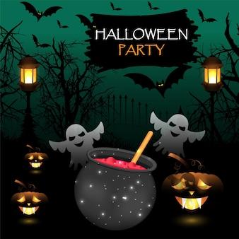 Halloween-feestachtergrond met gloeiende pompoen en horrorhuis