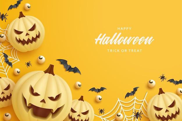 Halloween-feestachtergrond met illustratie van pompoen en spinnenweb