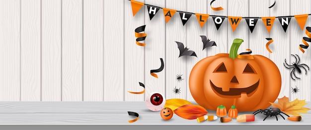 Halloween-feestachtergrond met snoep, oogbollen, spinnen, vleermuizen en pompoenen. vector