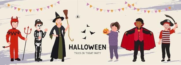 Halloween-feestaffiche. groep grappige kinderen in halloween-kostuum. banner