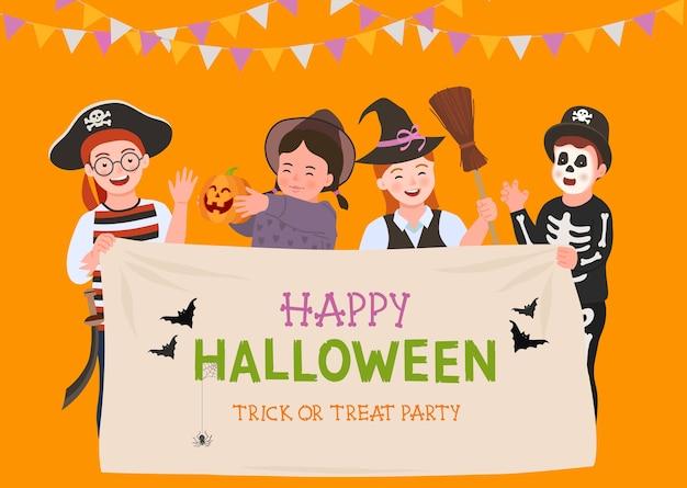 Halloween-feestaffiche. groep leuke kinderen in halloween-kostuum.