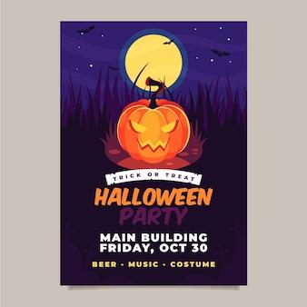 Halloween-feestaffiche in plat ontwerp