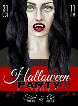 Halloween-feestaffiche met enge vrouw die vampiertanden draagt
