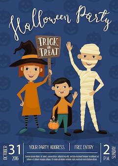 Halloween-feestaffiche met kinderen