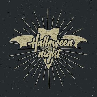Halloween-feestavondlabelsjabloon met vleermuis, zonuitbarstingen en typografie-elementen op donker