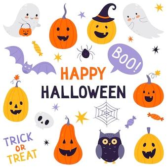 Halloween feestelijke set. handgetekende set van traditionele symbolen. collectie met pompoenen, spook, uil, schedel, vleermuis en snoep.