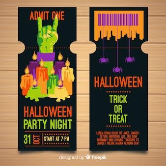 Halloween-feestkaartjes met plat ontwerp