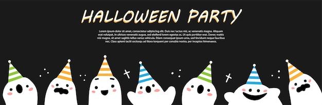Halloween-feestklare banner met schattige spookpersonages in feestelijke hoeden op een zwarte achtergrond