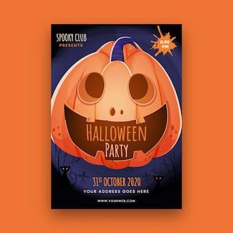 Halloween-feestsjabloon of flyer met griezelige pompoen en locatiegegevens.