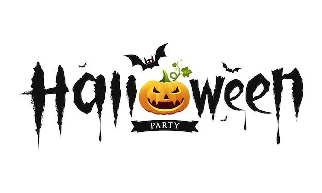 Halloween-feesttekstontwerp met pompoen en vleermuis geïsoleerd op witte achtergrond